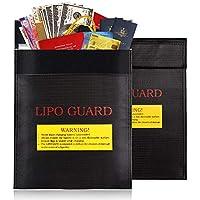 Bolsa Protectora de Documentos ignífuga e Impermeable, para bateríasm Dinero en Efectivo, Tarjetas, joyería, Papeles, Pasaporte, Color Negro - 18 x 23 cm (2 Piezas)