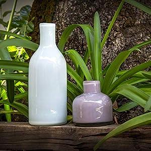 Glasmanufaktur Mitienda, Vasen, weiß und lila, Dekovasen 2er Set Botellas, Blumenvase, mundgeblasene Vasen aus Mexiko, Glas-Recycling