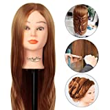 Hairdressing Training Head Luckyfine Super Long 30% Real Human Hair Salon Mannequin Head Practice Model With Bracket Home and Prefessional Use