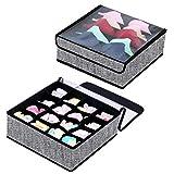 Homyfort Faltbare Aufbewahrungsboxen für Büstenhalter, Unterwäsche, andere kleine Zubehörteile, 16 Zellen und 5 Zellen Schubladenteiler, Schublade/Schrank Organizer, Vliesstoff, Schwarz-Leinen,XAS16S5