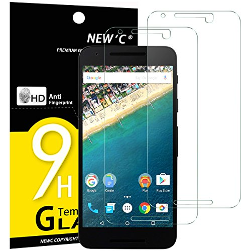 NEW'C PanzerglasFolie Schutzfolie für LG Google Nexus 5X, [2 Stück] Frei von Kratzern Fingabdrücken & Öl, 9H Härte, HD Bildschirmschutzfolie, 0.33mm Ultra-klar, Bildschirmschutzfolie LG Nexus 5X