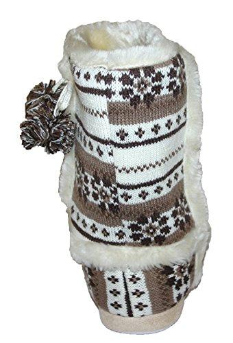Dunlop Farrah Stiefel-Hausschuh für Damen / Mädchen, mit Kunstfell-Futter, Knebelknopf, Größe 36-42 Braun