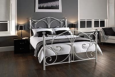 Bedzonline 4ft6 Sherry White Double Metal Bed Frame - cheap UK light store.