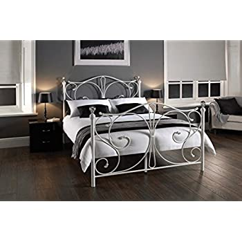 bedzonline 4ft6 sherry metal bed white