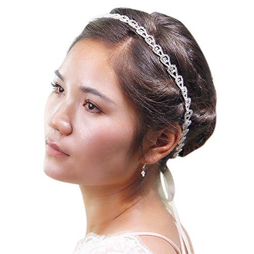 TOPQUEEN Hochzeit Gürtel Brautkleid Schärpe Brautjungfernkleider Ballkleid Brautgürtel Mit Glitzer Strass Strass (passendes Haarband)