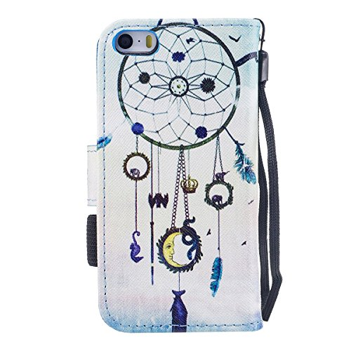 "MOONCASE iPhone 5/iPhone 5s/iPhone SE Coque, [Colorful Pattern] Wristbands avec Support Protection Étuis Case Card Holder Flip Cuir Housse pour iPhone 5s/iPhone SE 4.0"" Down Jacket Wind Chimes"