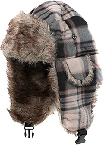 Sakkas 16175 - Caele Unisexe oreille Flap doublées de fausse fourrure Chin Buckle Strap hiver Trooper Hat - Kaki - OS