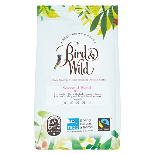 Bird & Wild RSPB Medium Roast Coffee Beans, Fairtrade Organic Shade Grown Bird Friendly Coffee, 6% of Sales Donated to RSPB (Seasonal Medium Roast/Whole Bean, 200g)