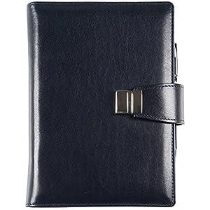 Echtes Leder Agenda - Elegant - Täglich 15x21 Täglich-wöchentlich 17x24 Blau