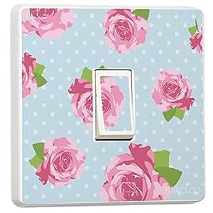 Bleu Style shabby chic Rose roses Skin autocollant en vinyle pour interrupteur en