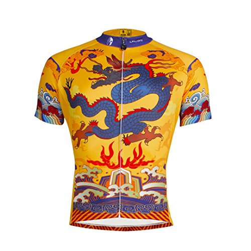 Dragon Pattern Men's Short Sleeve Cycling Jersey Full Zip Moisture Wicking Breathable Running Top Quick Dry Outdoors Sports Bike Shirt Multicolor Large (Bike Spandex Shorts)