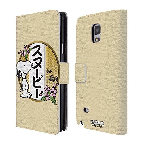 Head Case Designs Offizielle Peanuts Kirschen Blüten 3 Orientalischer Snoopy Leder Brieftaschen Huelle kompatibel mit Samsung Galaxy Note 4 (4 Note Hülle Samsung Snoopy Galaxy)