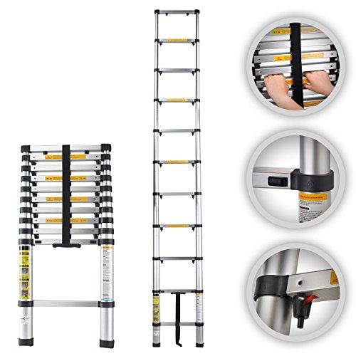 MAXCRAFT–Teleskopleiter Aluminium klappbar Sicherheit Bestzeit ausziehbar mit Schutz des Finger faltbar Sprossen 3,20m Test