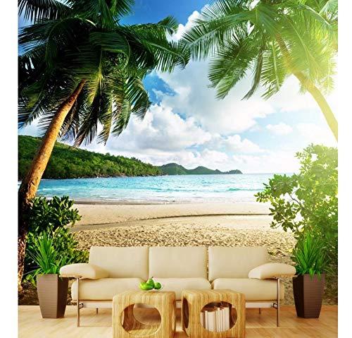 Kuamai Murales Personalizados En 3D Decoración Del Hogar Clásico Paintingg Wallpaper Romántico Hawaiian Seaside Tree Photo Wall Murals Wallpaper-400X280cm