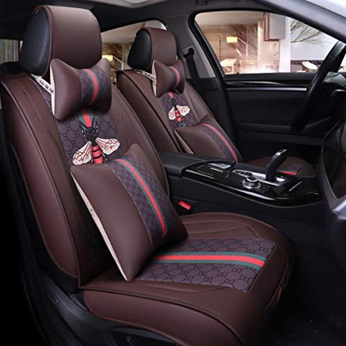 Y&Jack Auto-Sitze Vier Seasons Universal Leder-Seat Cover Sommer-Frühstück Cartoon Car Seat 5 Seat Schutz Wasserschutz Pu Leder-Sieber-Kissen,B -