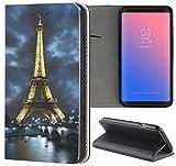 Samsung Galaxy S3 / S3 Neo Hülle Premium Smart Einseitig Flipcover Hülle Samsung S3 Neo Flip Case Handyhülle Samsung S3 Motiv (394 Eifelturm Paris Frankreich Bei Nacht Blau Gelb)