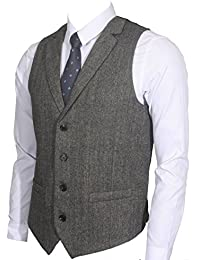 Ruth&Boaz 2Pockets 4Buttons Wool Herringbone/Tweed Tailored Collar Suit Waistcoat