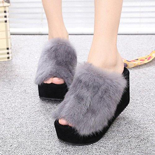 DM&Y 2017 versione coreana del pendio signora pantofola peluche con crosta spessa focaccina pantofole coniglio tacco alto Grey