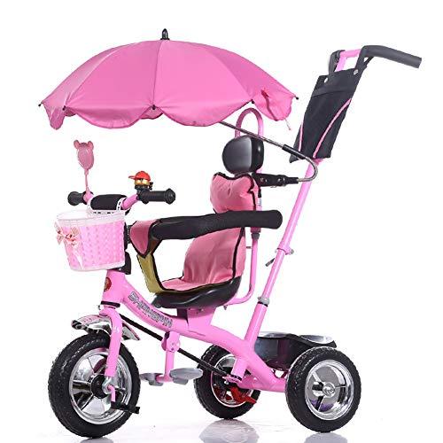 Dreiräder- Kinder Trike Kinderwagen Fahrrad 1-6 Jahre alt Große Baby Mädchen Auto 3-Wheeler (Color : Pink)