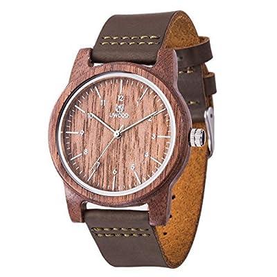 Reloj Madera Hombre, MUJUZE Natural De Madera Del Reloj De Cuero Reloj Único Texturas Regalos De Aniversario
