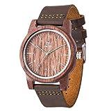 Holzuhr, MUJUZE Armbanduhren Männer Handarbeit Kuh Leder Band Holz Uhr Herren Casual Business Sport Style Lederband Holz Uhr (Walnuss)