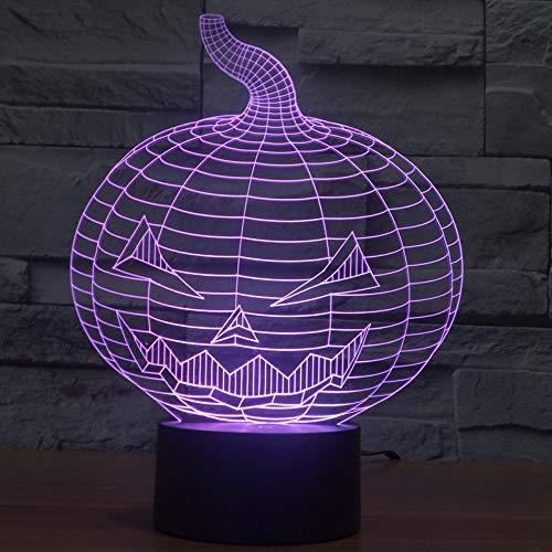 d Nachtlicht 3D Led Lampe Nachtlicht Spielzeug Creative Ändern Stimmung Verfärbung Acryl Anwesende Halloween-Ausgang Led-Tischlampe Des Kürbiskopfes ()