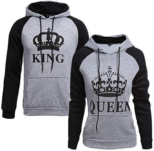 Socluer Pärchen King Queen Kapuzen Pullover Winter Langarm Damen Herren Loose Hoch Kragen Sweatshirt Hoodie mit Tasche