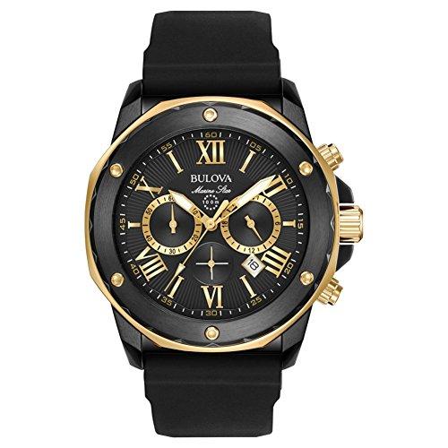 Bulova Men's Designer Chronograph Watch Rubber Strap - Water Resistant Black Gold Marine Star 98B278