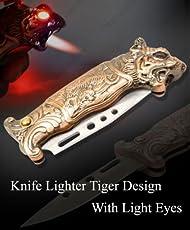 Lighter House Tiger Design Knife With Light Stylish Refillable Cigarette Lighter