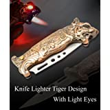 Lighter House Tiger Design Knife With Light Stylish Refillable Cigarette Lighter