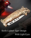 #10: Lighter House Tiger Design Knife With Light Stylish Refillable Cigarette Lighter