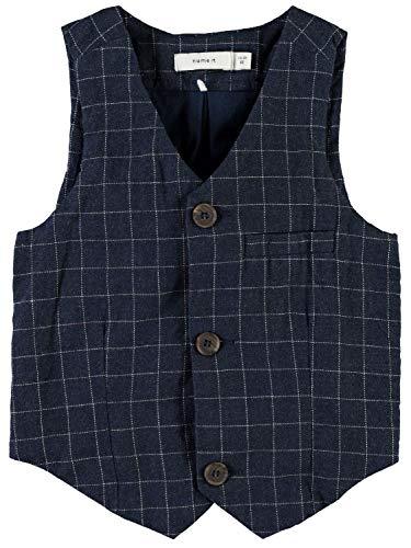 NAME IT Mini Anzug-Weste für Jungen Nitfittin kariert, Farbe:Dress Blues, Größe:68
