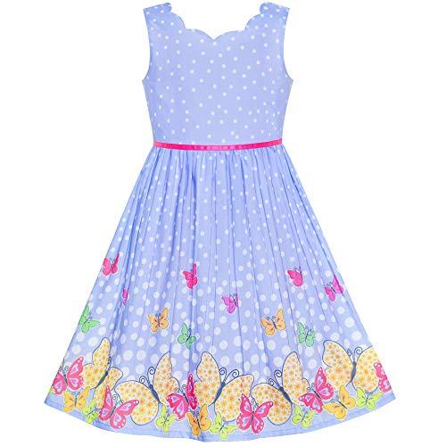 Sunboree Mädchen Kleid Lila Schmetterling Jakobsmuschel Ausschnitt Gr. 98 (Kleid Boutique Mädchen)