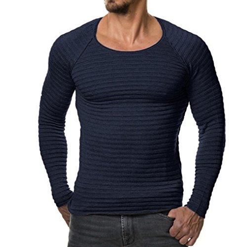 YunYoud Herren Tops Männer Einfarbig Lange Ärmel Tops O-Hals Slim Fit Bluse Herbst Winter Beiläufig Stricken Sweatshirt Mode Draussen Sport Hemd (L, (Kostüme Vintage Baumwolle)