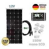 VIASOLAR Kit 150W Eco 12V Panel Solar monocristalino células alemanas