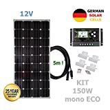 VIASOLAR 150W 12V Monokristallin Solaranlage ECO Solarmodul deutsche Solarzellen