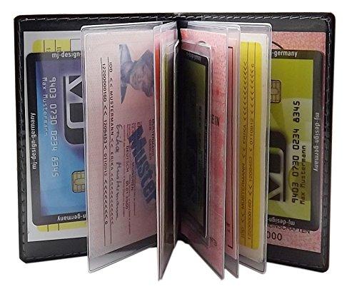 Porta carte d'identità e carte di credito con 12 scomparti MJ-Design-Germany Made in UE in diversi colori e designs (Design 1 / Nero) Design 3 / Nero