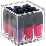 mDesign - Organizador de cosméticos con tapa, para gabinete del tocador; guarda maquillaje, productos de belleza - 10,2 cm de alto - Claro