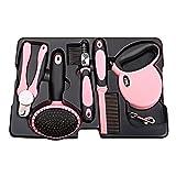 HevaKa Fünfköpfige Haustier Reinigung Geräte (Hundeleine 3m, einreihige Nadel Kamm, offenen Knoten Kamm, weiche Unterseite Drahtbürste & Nagelschere) - Pink