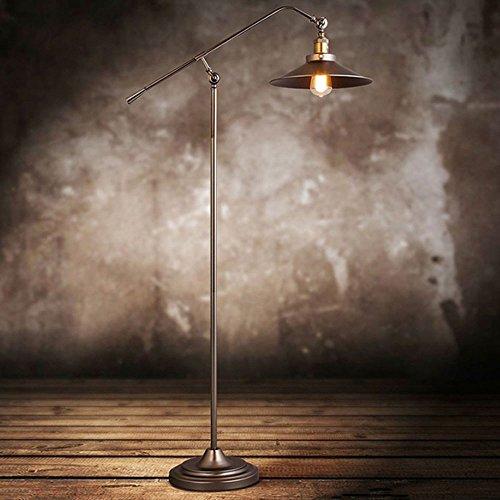 American Vintage Eisen Stehlampe Industriehebel Old Copper Art Stehleuchte Einstellbare Langen Arm Angeln Stehlampe Für Wohnzimmer Salon Villa Schlafzimmer Studie, H120cm Φ30cm E27 (American Bücherregal)