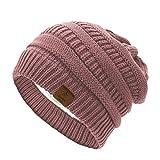 Azue Mütze Damen Winter Strickmütze Grobstrick Warme Beanie mit Innenfutter Pink
