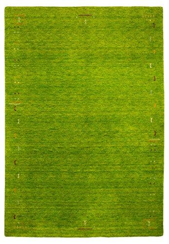 Morgenland Designer Gabbeh Teppich FENTH 300 x 200 cm Grün Einfarbig Modern Handgearbeitet 100%...