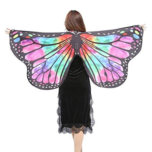sflügel Schal Schals Damen Nymphe Pixie Poncho Kostüm Zubehör Halsband mit einem Armband Schmetterlingsflügel Schal Shawl HKFV (D, Grün) ()