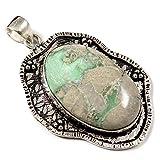 Goyal Crafts GPC110 - Ciondolo con pietra naturale di variscite placcata in argento
