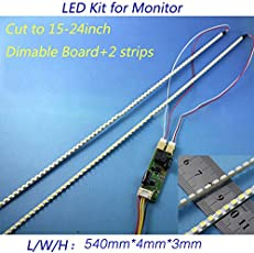 Leoie Universal LED Backlight Lamps Update Kit for LCD Monitor 2 LED Strips Support to 24'' 540mm