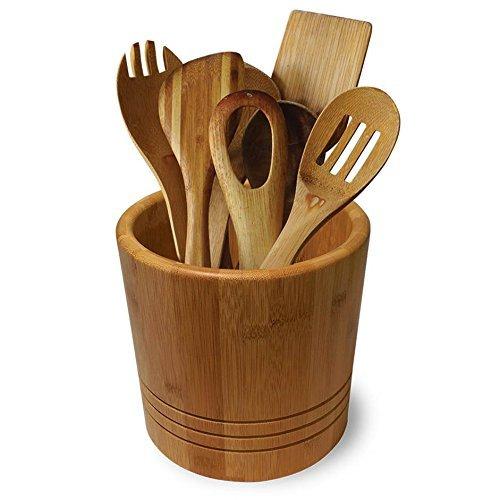 Contenitore grande in bambù per utensili da cucina – Tieni tutto l\'essenziale a portata di mano in una soluzione comoda ed elegante per la tua cucina (bamboo)