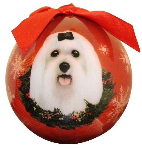 E&S Pets Malteser Weihnachten Ornament bruchsicher Ball einfach, Malteser Liebhaber -