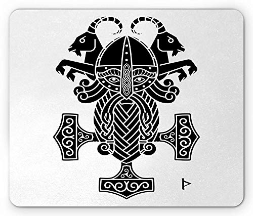WYICPLO Mjolnir Mouse Pad, Ancient Scandinavian Sacred Hammer Icon with Mystic Shapes Tribal Motif Print, Standard Size Rectangle Non-Slip Rubber Mousepad, Black And White