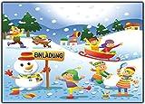12er-Set Einladungskarten Kindergeburtstag Schneelandschaft Winter-landschaft Schlitten-fahren Jungen Mädchen Kinder Geburtstag lustig witzig ausgefallen Schnee-Ballschlacht Schneemann Girls Teens
