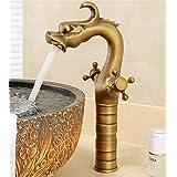 @LIU-Contemporaine Cross Double Poignées Robinet lavabo Robinet de lavabo pour le bassin (en laiton antique) , b